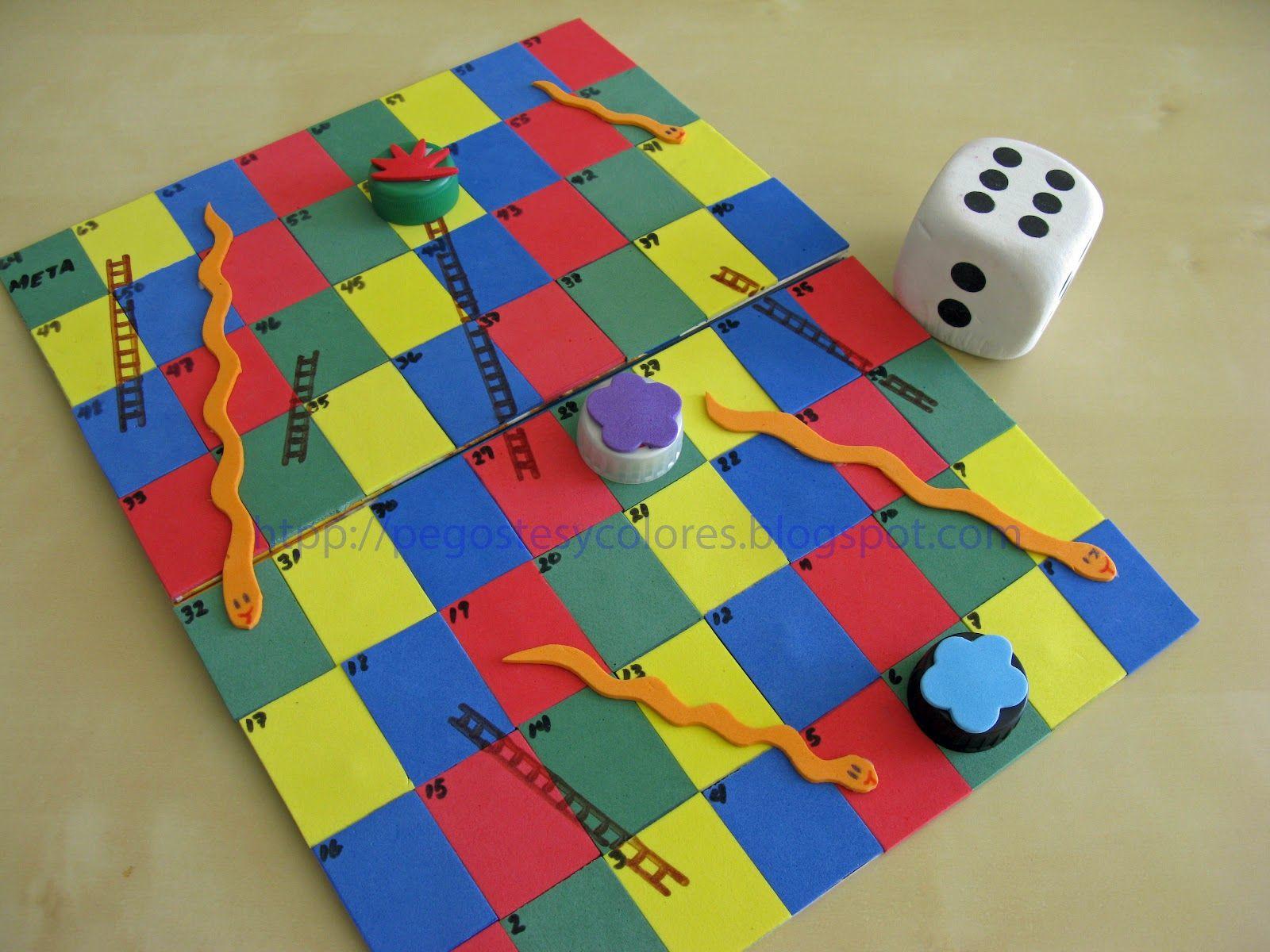 Juego de serpientes y escaleras con hecho con foamy for Escaleras y serpientes imprimir