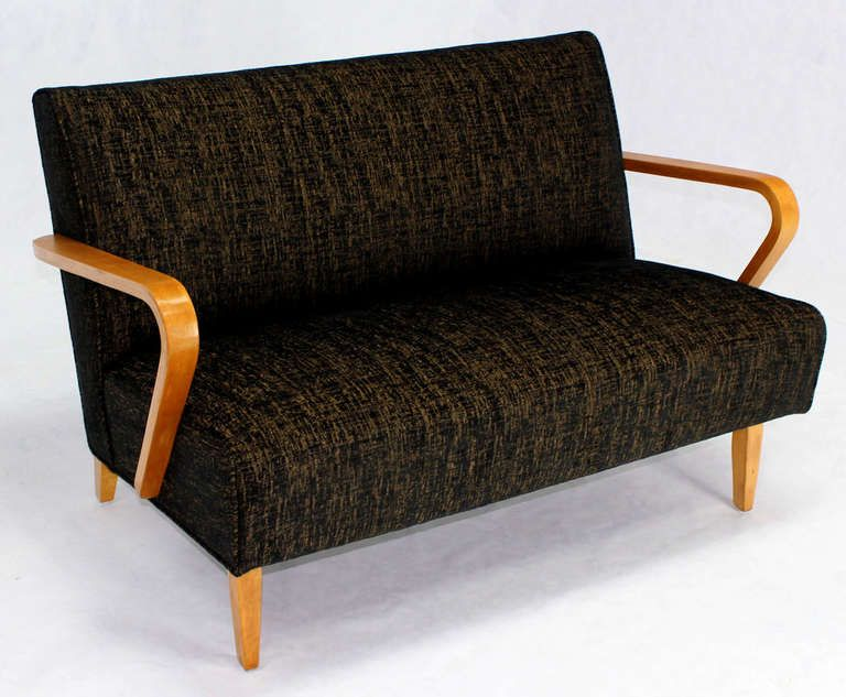 Pair of Mid-Century Modern Love Seat Settee Sofas, New Upholstery | From a unique collection of antique and modern loveseats at https://www.1stdibs.com/furniture/seating/loveseats/