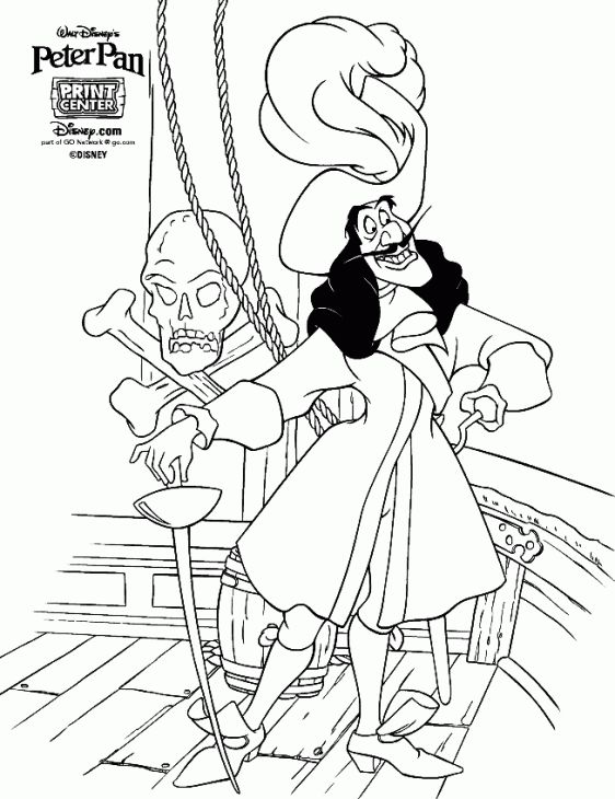 Captain Hook Coloring Page For Kids Letscolorit Com Peter Pan Coloring Pages Disney Coloring Pages Cartoon Coloring Pages
