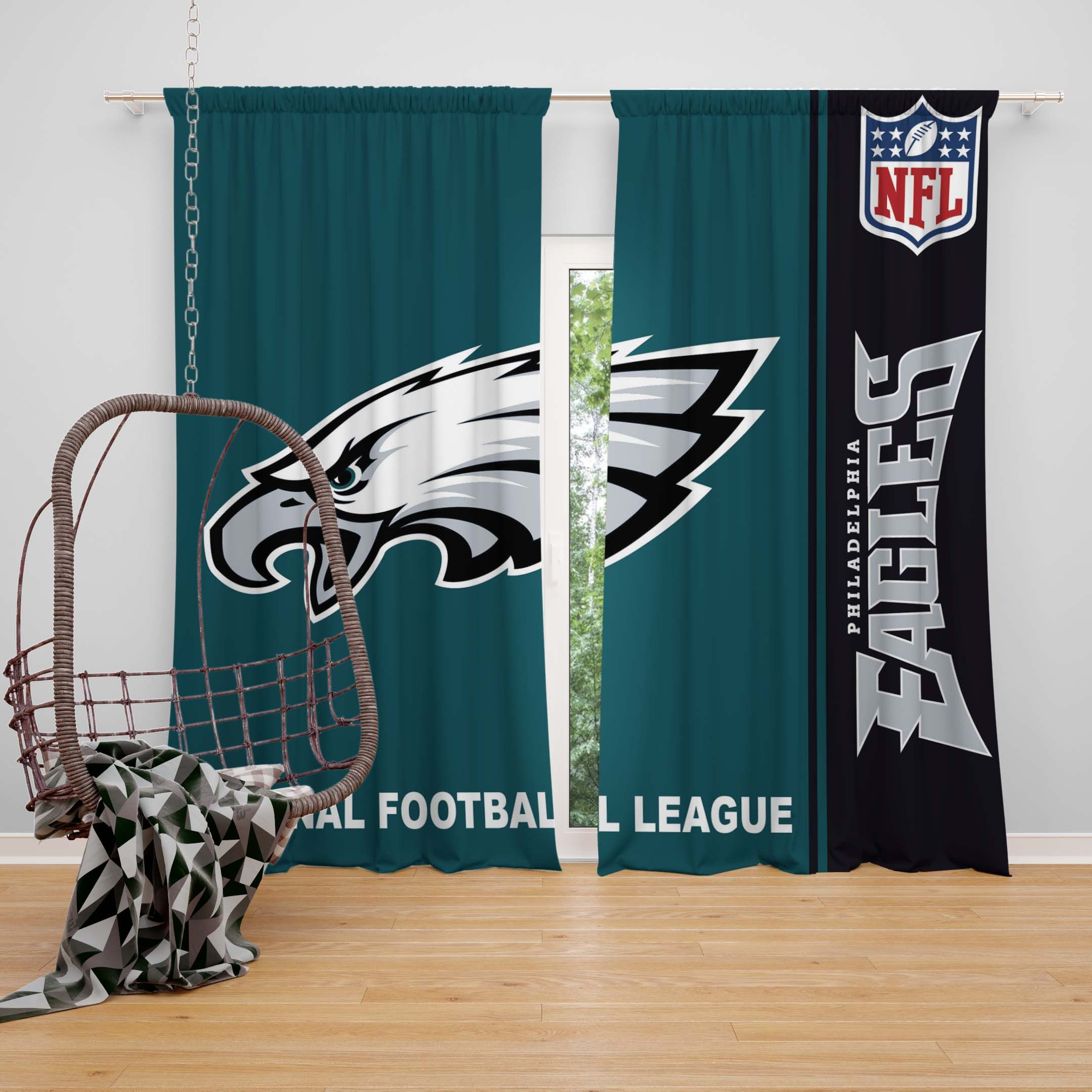 42d64f98 NFL Philadelphia Eagles Bedroom Curtain | NFL American Football ...