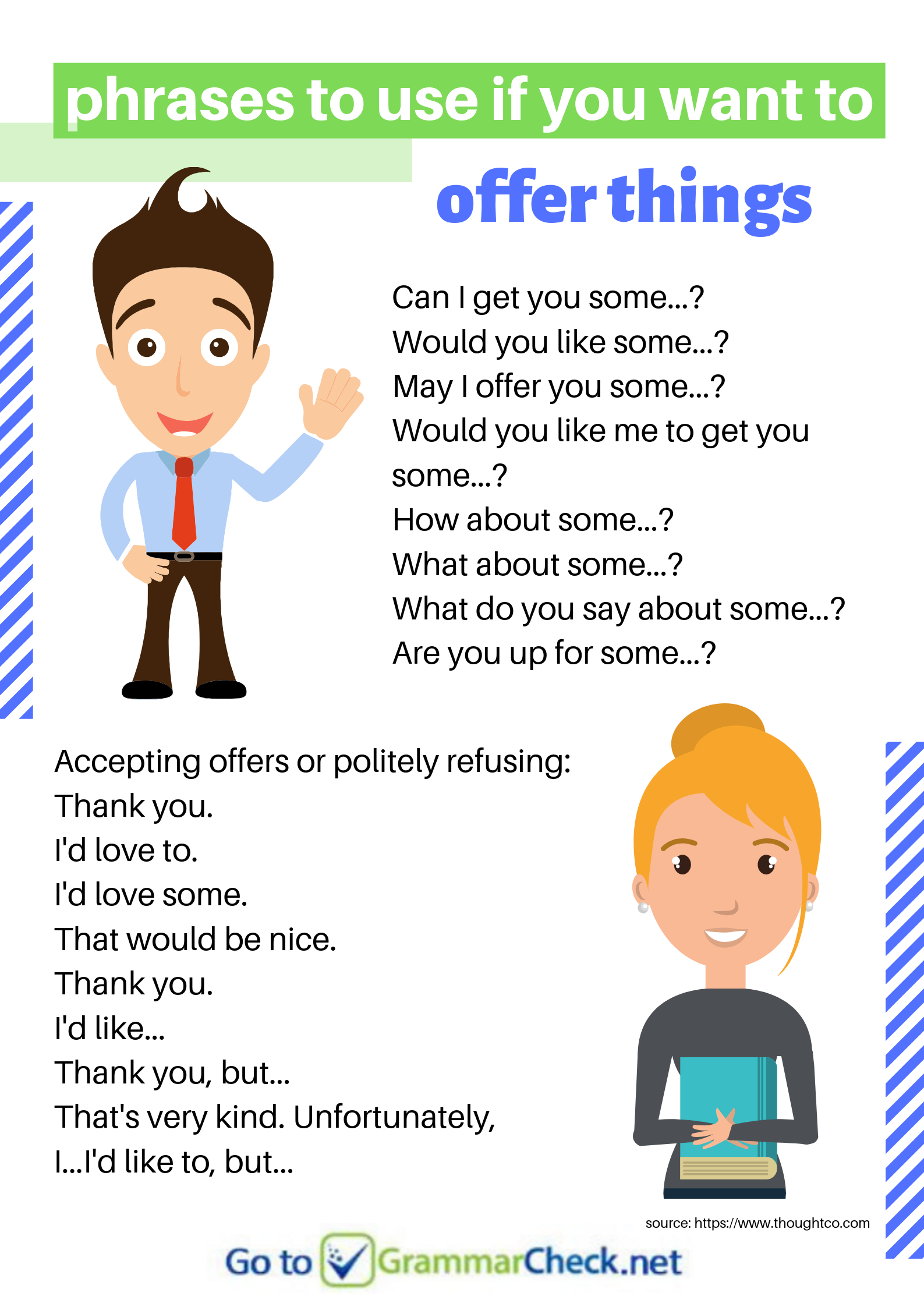 Phrases To Use If You Want To Offer Things Or Politely Refuse English Grammar English Language Learning English Sentences