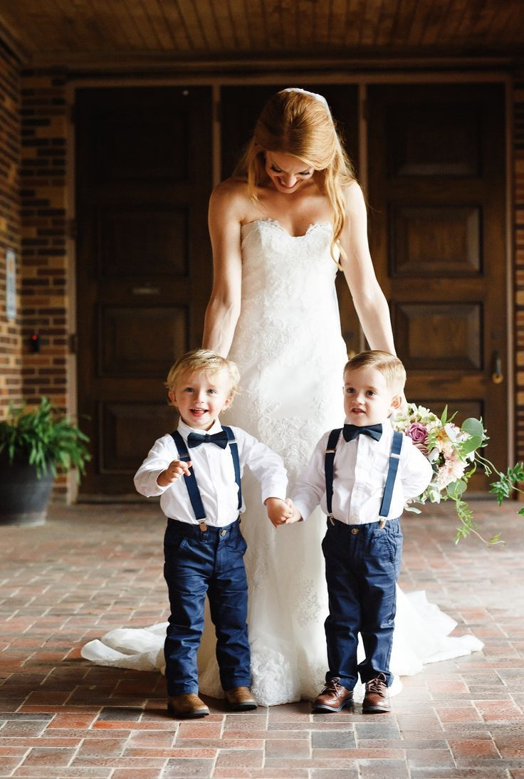 Navy Blue Suspenders And Blue Boys Bow Tie Baby Wedding