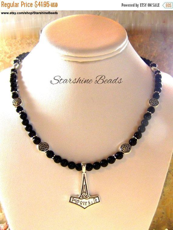 ON SALE Black Onyx Thors Hammer Unisex Necklace by StarshineBeads