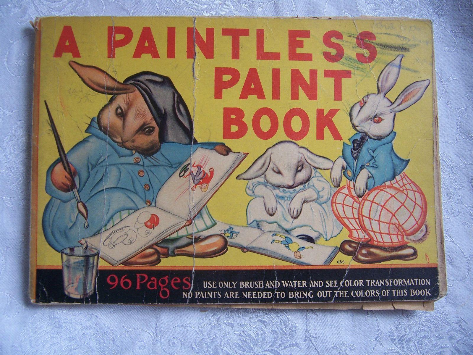 Vintage Big Paint Book Paintless Paint Book1930s Coloring Book 685 Whitman Painted Books Coloring Books Painting