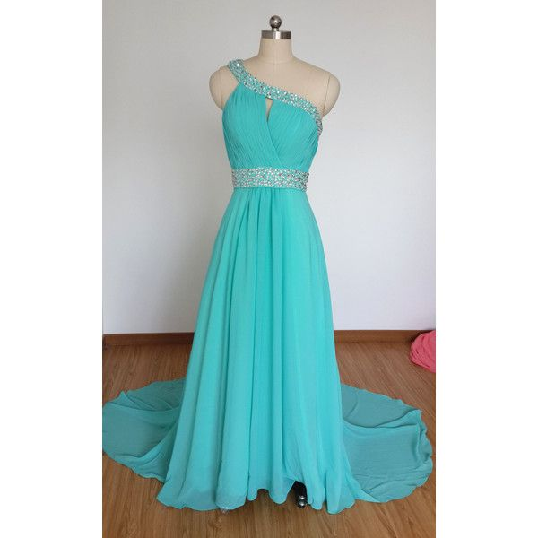 2015 One-Shoulder Turquoise Blue Chiffon Beaded Long Prom Dress With... ($119) ❤ liked on Polyvore featuring dresses, grey, women's clothing, blue chiffon dress, long chiffon dress, one shoulder cocktail dress, long cocktail dresses and prom dresses