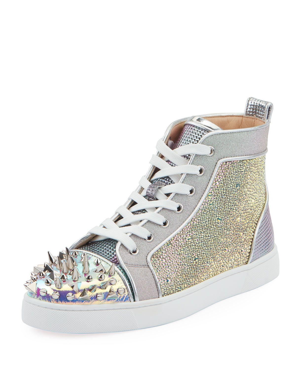 2a070104e46 CHRISTIAN LOUBOUTIN MEN'S LOOX STRASS MIXED-MEDIA MID-TOP SNEAKERS ...