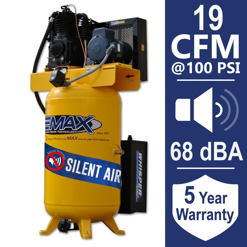 Emax Industrial Plus 80 Gal 5 Hp 1 Phase Silent Air Electric Air Compressor With Pressure