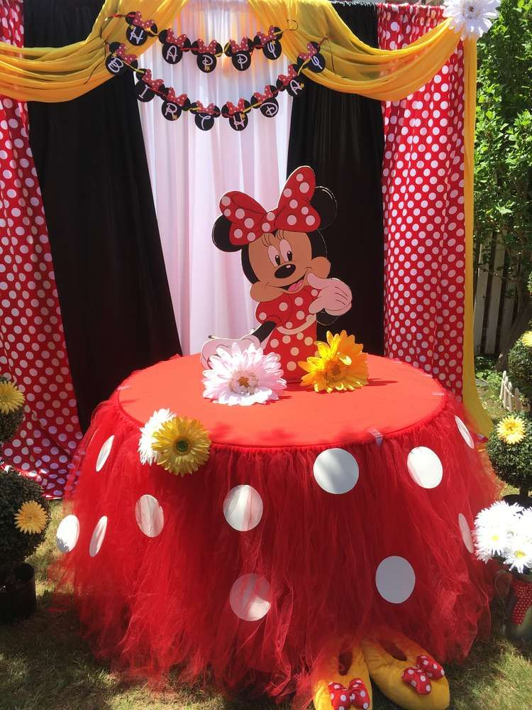 Minnie Mouse Birthday Party Ideas Photo 1 Of 9 Minnie Mouse Birthday Decorations Minnie Mouse Birthday Theme Minnie Mouse Birthday Party Decorations