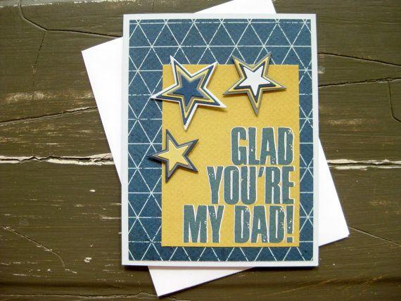 Glad You're My Dad Handmade Father's  Day Card #designsbybeccashop #etsy #gladyouremydad #handmadecard
