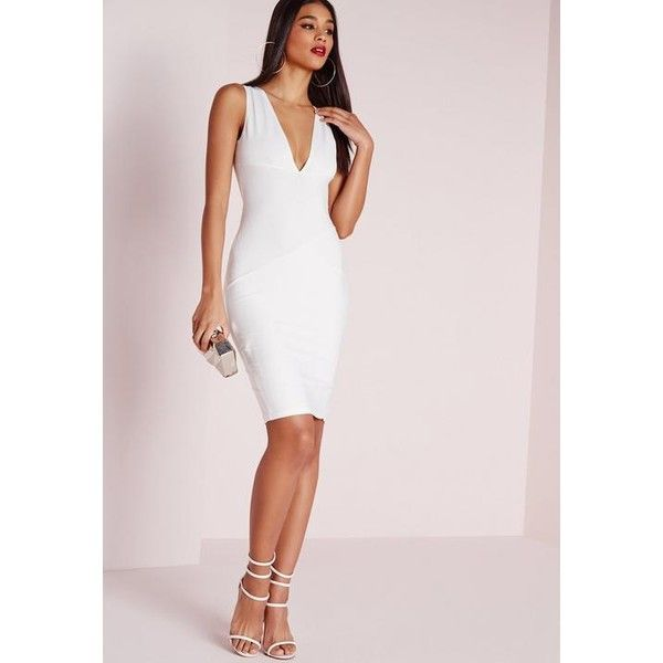 Missguided Plunge Bandage Bodycon Dress 54 Liked On Polyvore Featuring Dresses White Bodycon Mid Bandage Dress Bodycon Bodycon Dress White Bandage Dress