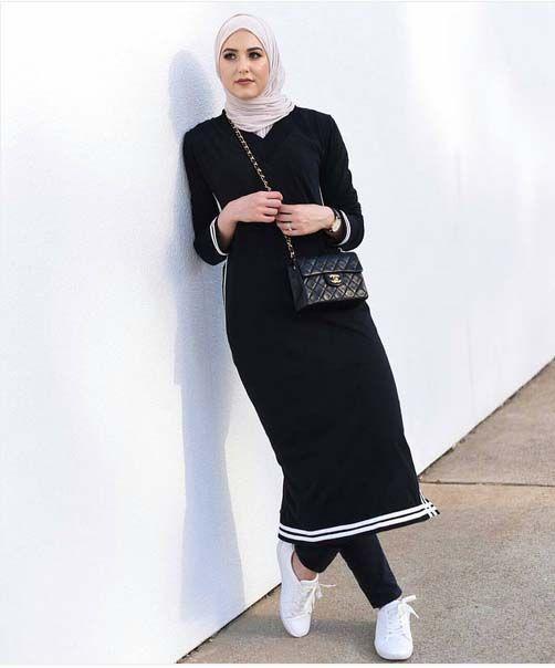 Tenues Hijab28 Hijab Chic, Hijab Dress, Hijab Outfit, Dress Skirt, Shirt  Dress