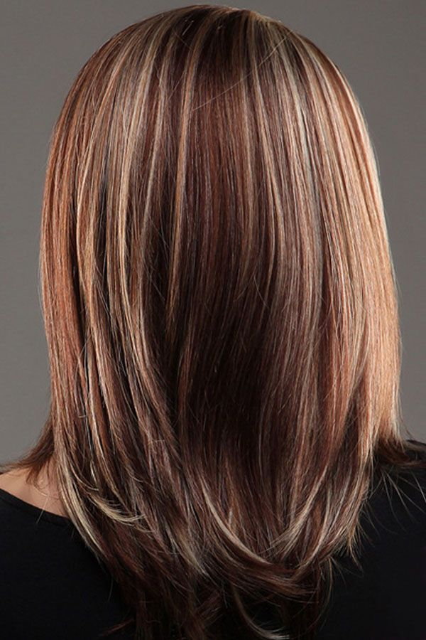 Brown Blonde Straight Mid Length Highlights Hair Wig Lc0207 3 Hair Highlights Medium Hair Styles Medium Length Hair Styles
