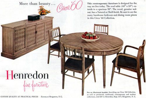 Henredon Dining Room Furniture CIRCA 60 COLLECTION Buffet TABLE 1956 Print Ad