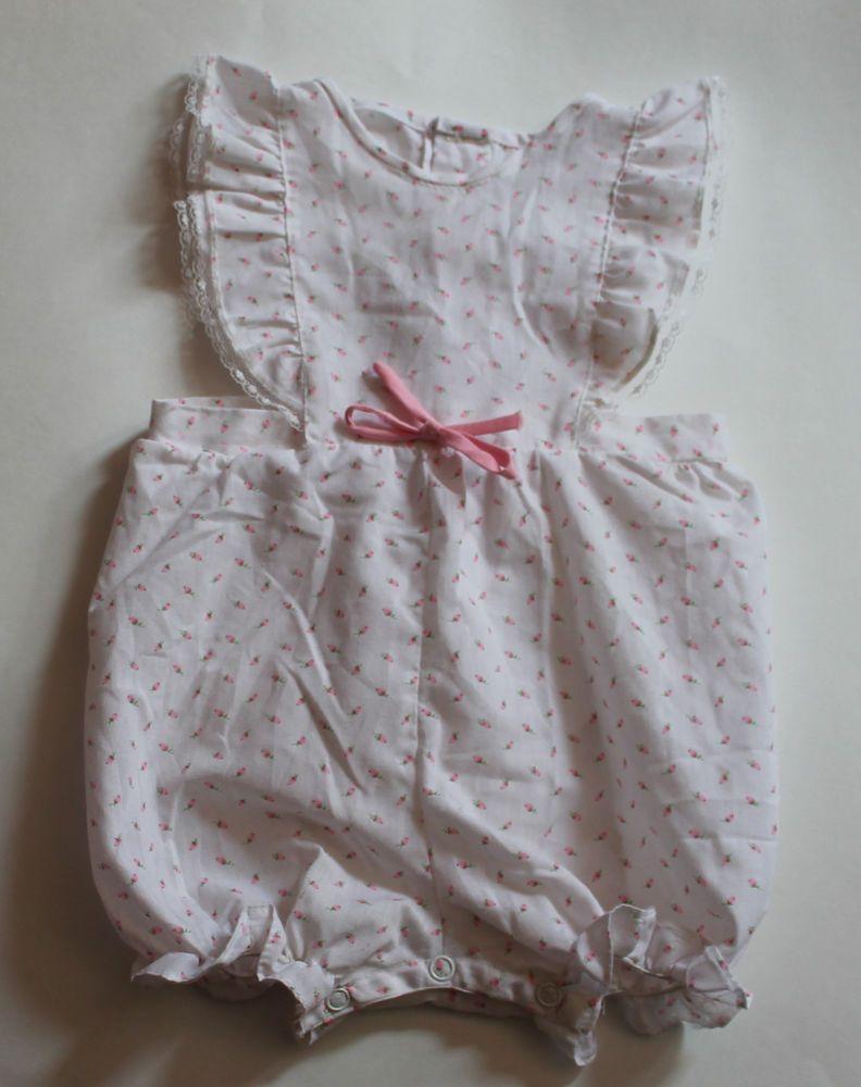 e2535ba1277 Vintage 80s Baby Girl Romper Sunsuit White Pink Rosebud Rose Floral  One-Piece  Vintage  Sunsuit  OnePiece  BabyClothes  VintageBabyClothes   VintageBaby ...