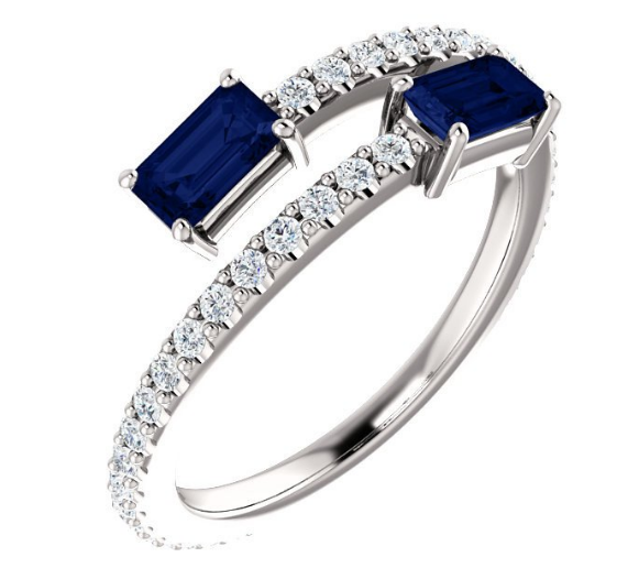 3bdde53a9a509 Sapphire and Diamond Two Stone Bypass Ring in 18K White Gold in 2019 ...