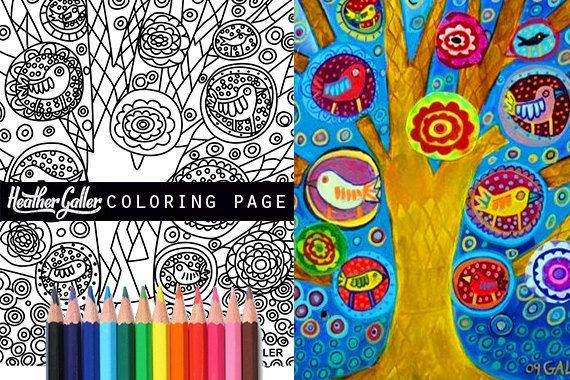 Tree Birds Coloring Animal Book Adult Pages
