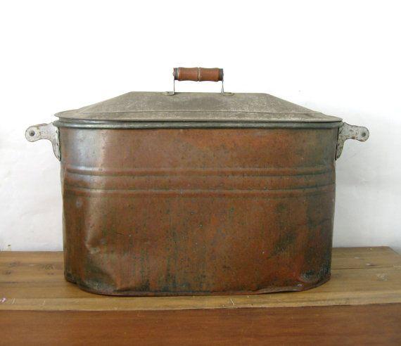 Rustic Copper Pail Pendant Light By Cre8iveconcrete On Etsy: Antique Copper Boiler, Large Copper Wash Tub, Copper