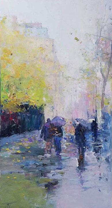 Прогулка осенью, Петр Безруков- осенний город, дождливый ...  Дождливый Город Картина