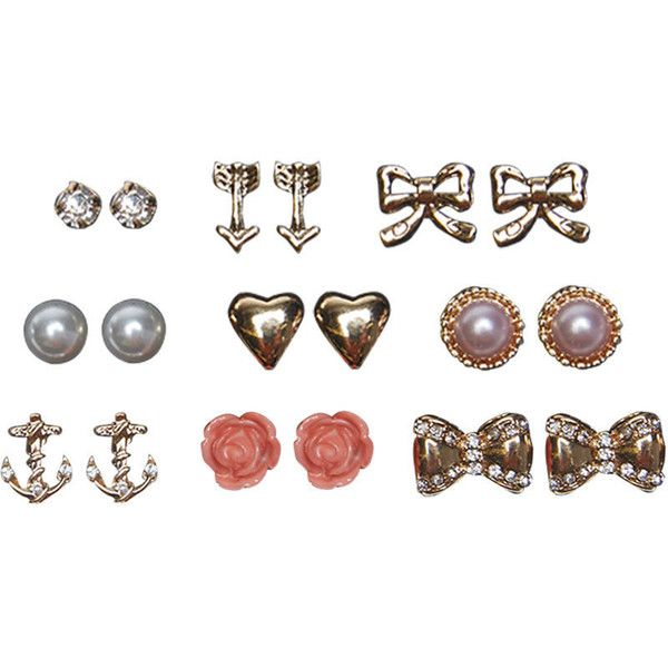 Rhinestone Bow Earring Set ($4.99) ❤ liked on Polyvore featuring jewelry, earrings, fillers, gold, flower jewelry, rhinestone heart earrings, rhinestone stud earrings, fake earrings and bow earrings