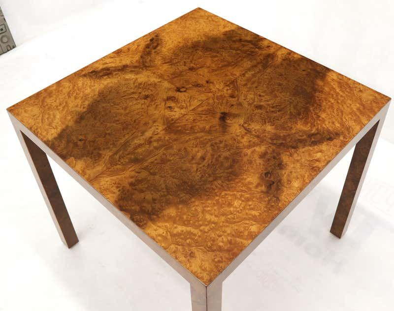 square burl wood game center table by