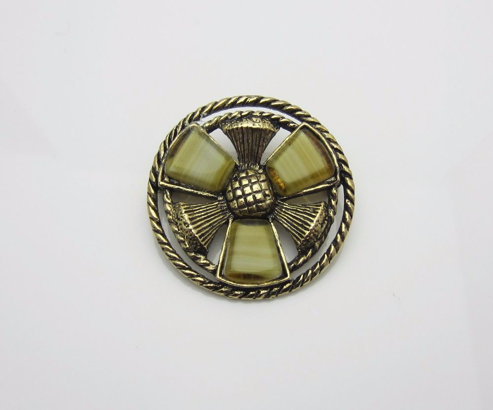 #VintageJewellery Scottish Thistle Glass Agate Brooch 1960s new in at #AdornAnew #ShopSmall