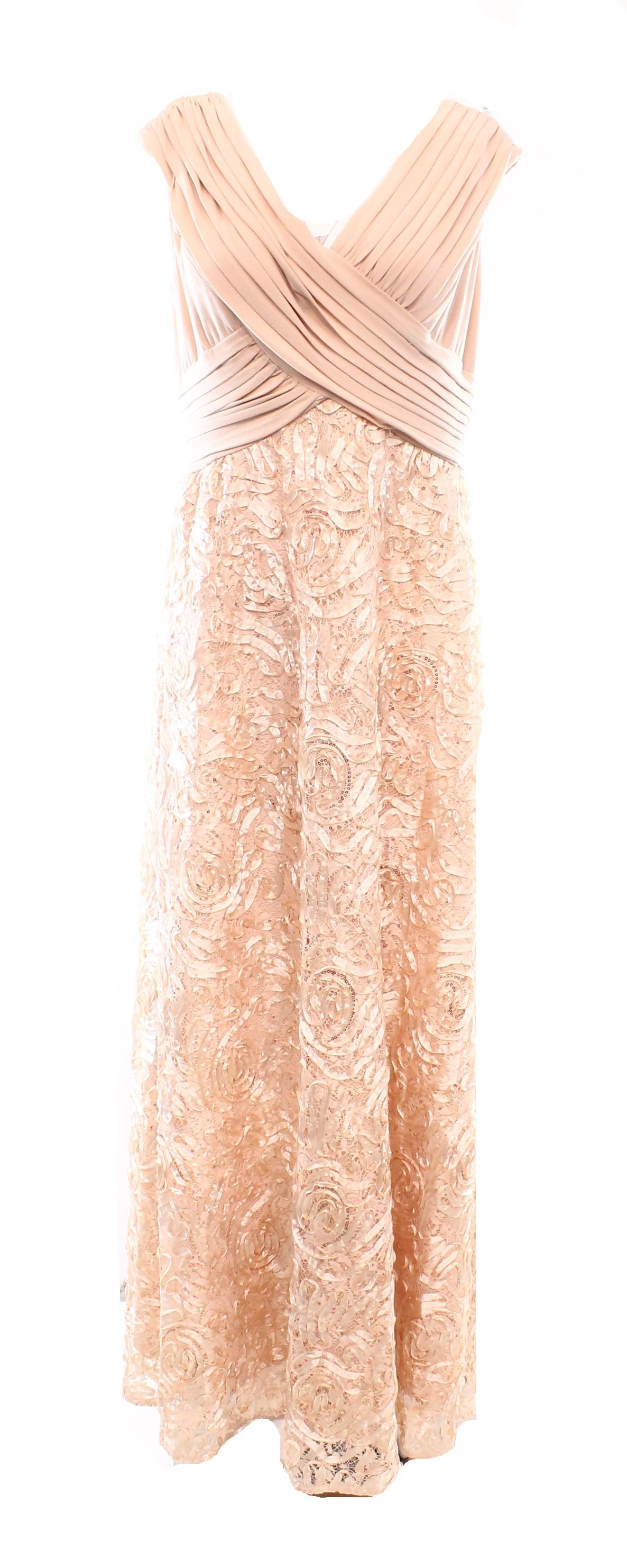 Patra new apricot beige womenus size embroidered gown pleated
