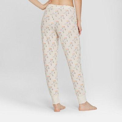 ed78f5e49156 Snooze Button Women s Unicorn Jogger Pajama Pants - Oatmeal XL ...