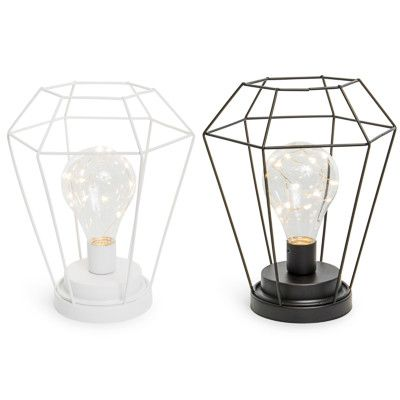 Diamond Caged Bulb Lamp 6 75in X 8 25in Shabby Chic