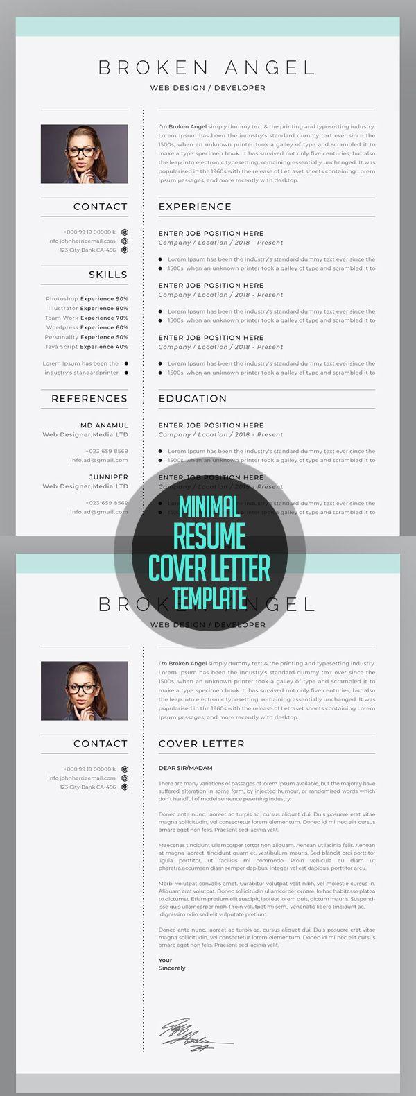 Resume Cover Letters Minimal Resume  Cover Letter  Pinterest  Resume Cover Letters .