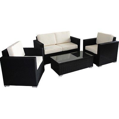 4 Piece Outdoor Rattan Patio Furniture Set Fun Friends Bbq Sun Tan New Free Patio Furniture Deals Rattan Patio Furniture Patio Furniture Sets