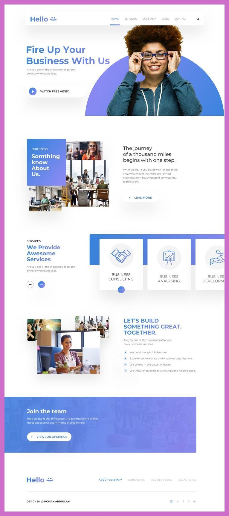 Best Responsive Websites 2018 Hello Home Page Landingpage Responsive Website Templ In 2020 Wordpress Website Design Website Design Layout Web Development Design
