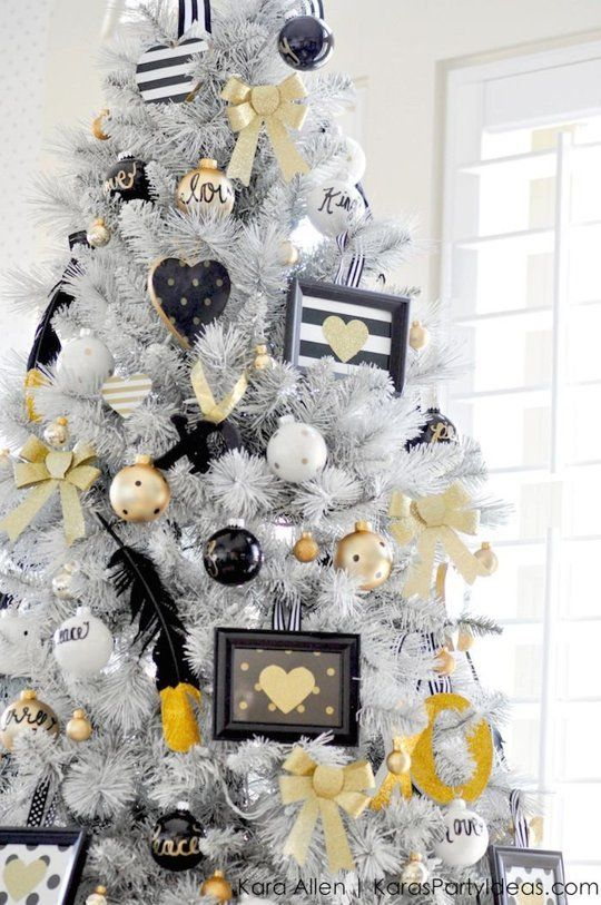 Black And White Christmas Party Ideas Part - 26: Fill The Frames With Treasured Photos Or, Like Kara Of Karau0027s Party Ideas  Did, Color-coordinated Prints.