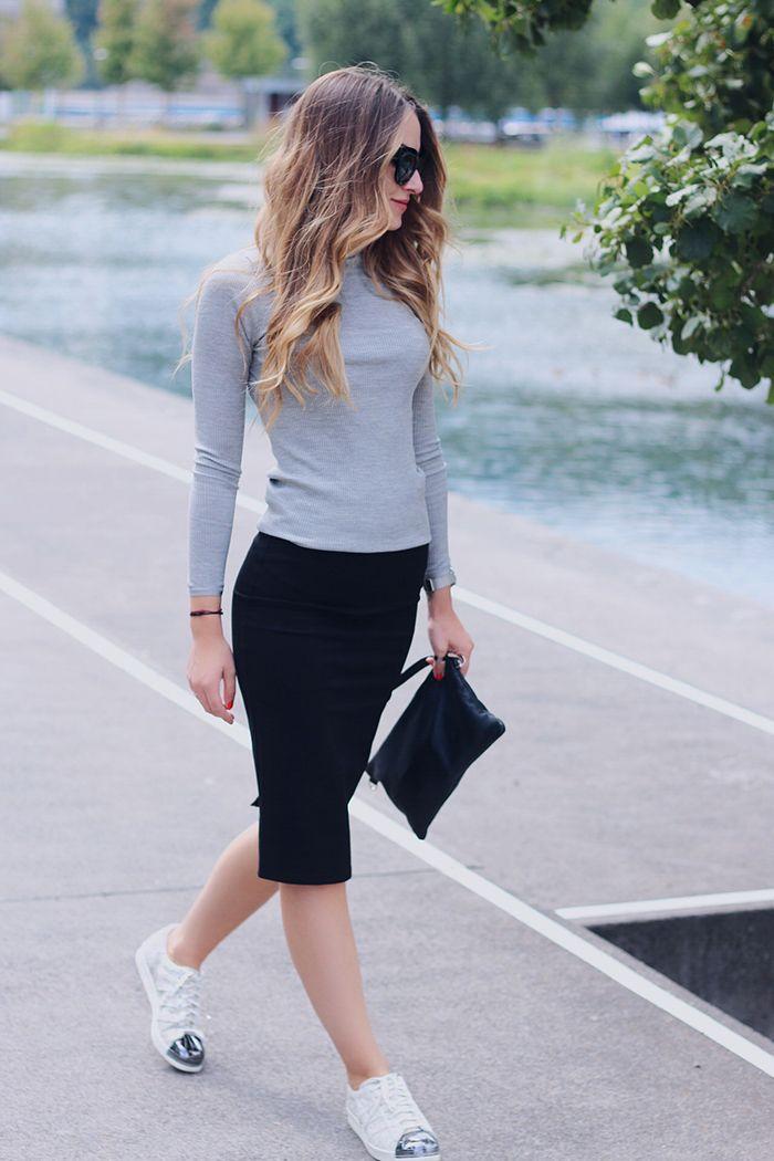 Rosemunde grey turtleneck styled with pencil skirt - www.heelsongasoline.com b27d8b25ba60f