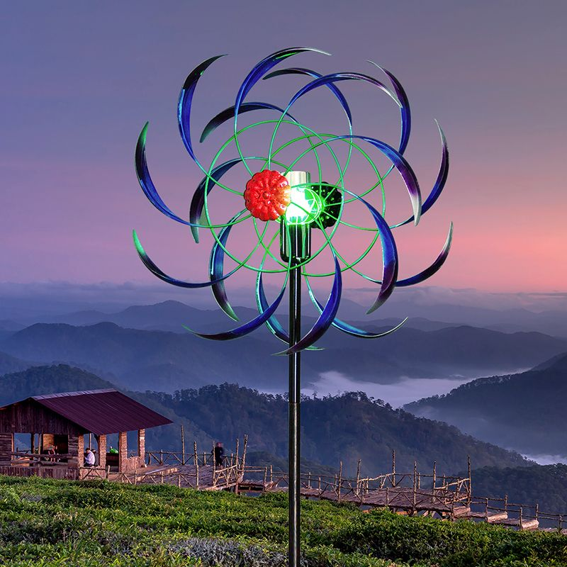 Blue//Purple flower windmill garden wind spinner