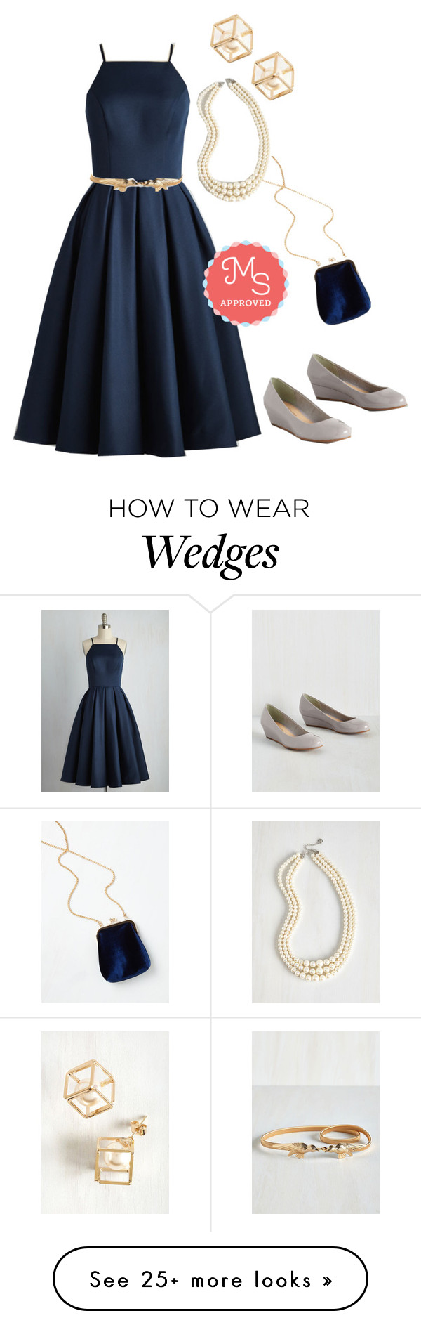 """Beloved and Beyond Dress in Navy"" by modcloth on Polyvore featuring Chi Chi, women's clothing, women, female, woman, misses and juniors"