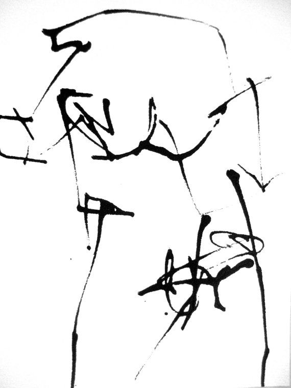 5x7in Male Nude Erotic Black White Abstract Expression Intuitive
