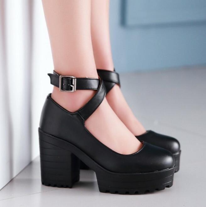 Chic Women Round Toe Platform High Chunky Heel Cro