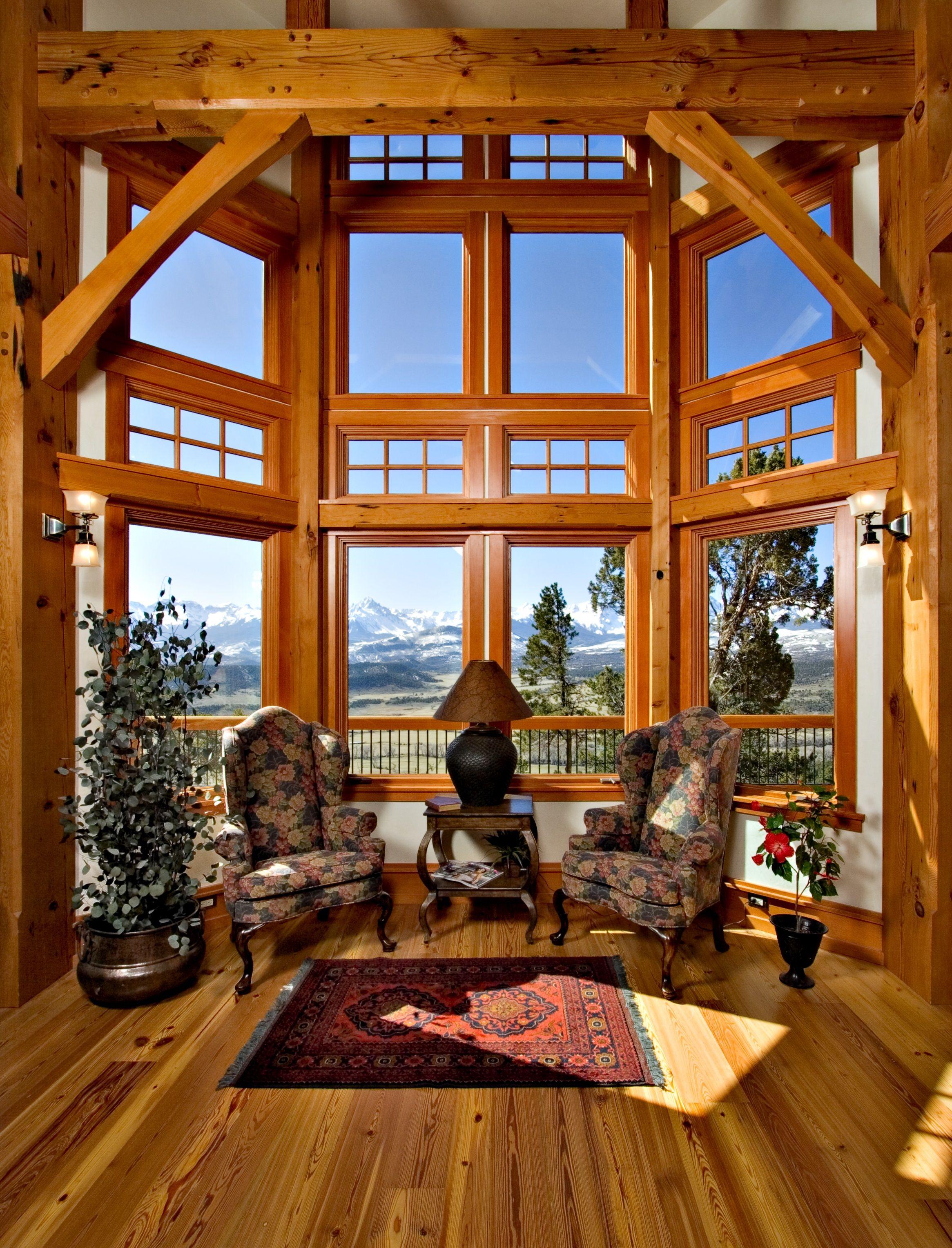 Compact Hybrid Timber Frame Home Design Photos Timber Home Living: Colorado Timberframe Home Interior