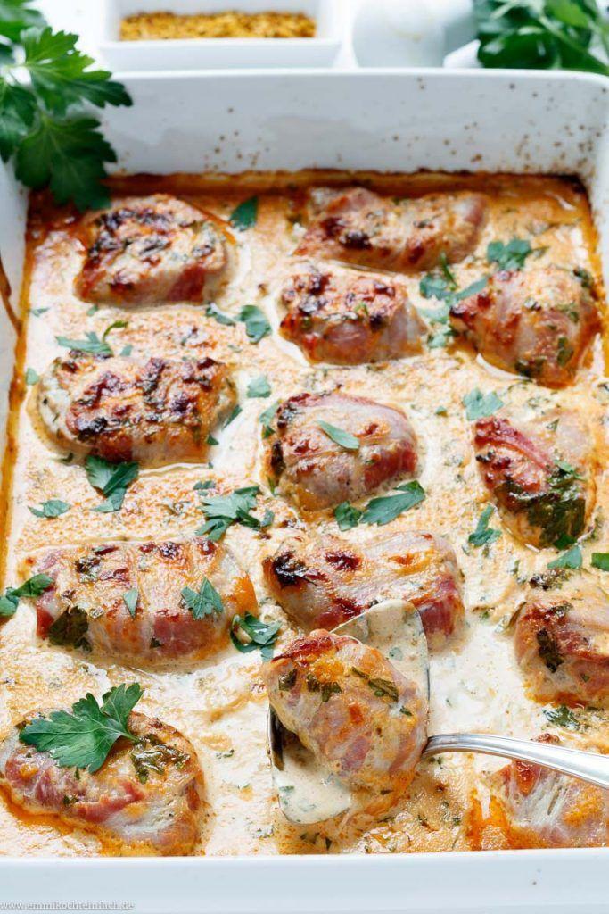 Schweinefilet mit Bacon in Currysahne - emmikochteinfach #foodanddrink