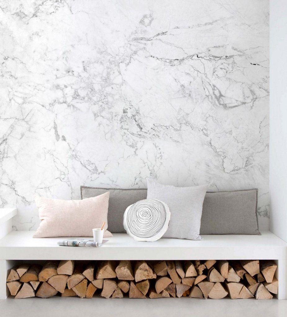 White Marble Wall Art Wallpaper Peel And Stick Simple Shapes Moveis E Decoracao Sala Decoracao Sala Simples Papel De Parede Decoracao
