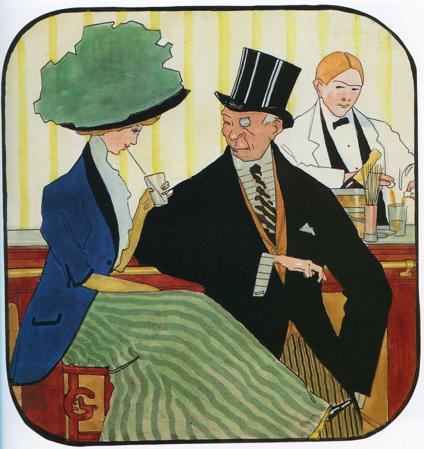 """American Drinks"" by Georges Lepape c1910"