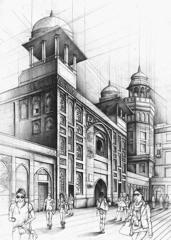 Wazir Khan Mosque Perspective Drawing Architecture Architecture Drawing Art Pencil Sketches Architecture