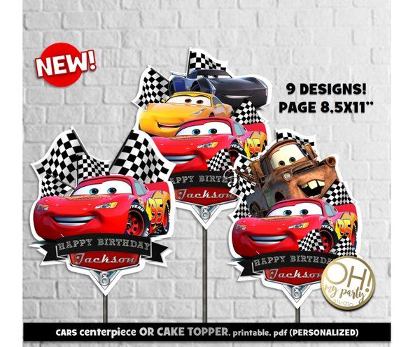 Cars 3 Centerpiece Cake Topper Birthday Party Printable Supplies Cars3