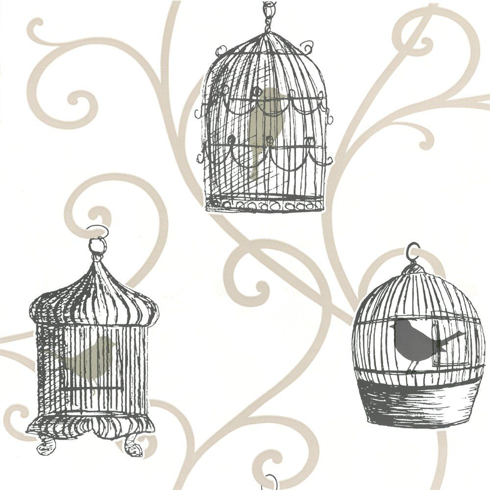 Arthouse Skylark Bird Cage Wallpaper Gold Cream Bird Bedroom