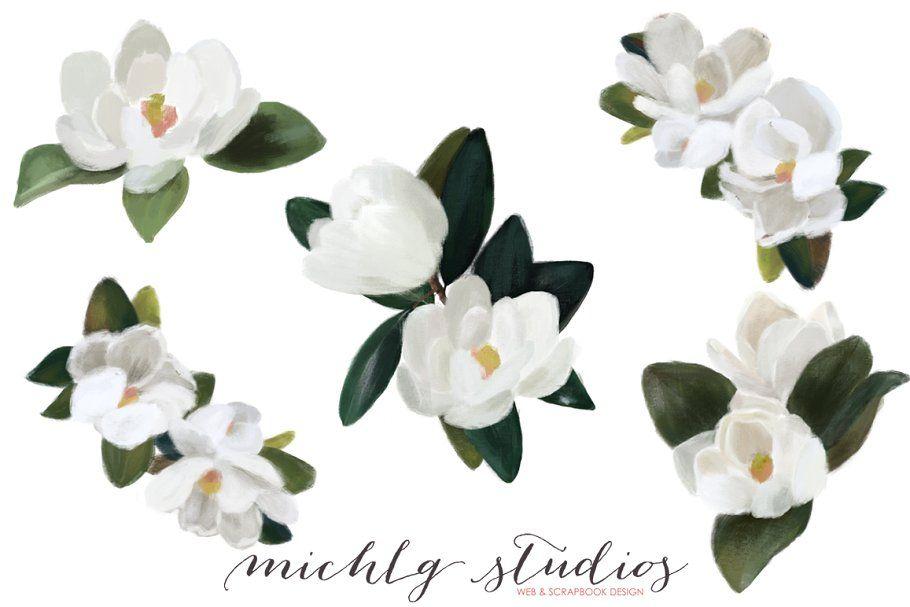 Magnolia Flower Clipart Magnolia Wr In 2020 Flower Clipart Wreath Clip Art Magnolia Flower