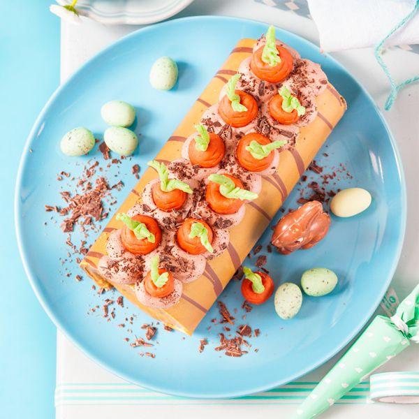 Biskuitrolle mit Möhren dekorieren #lettercakegeburtstag