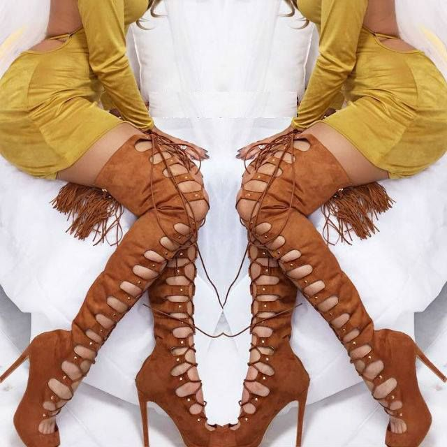 Lace up Thigh High Boot Heels | **DISCOUNT SHOES | Pinterest ...