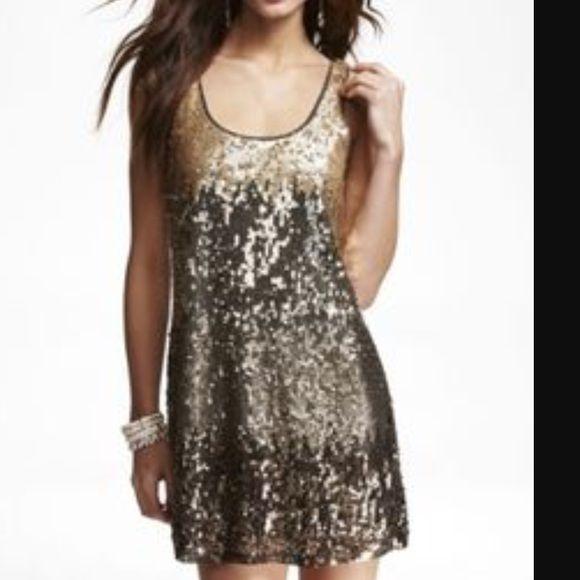 Ombré Gold Sequin Mini Dress from Express   Sequin mini dress, Mini ...