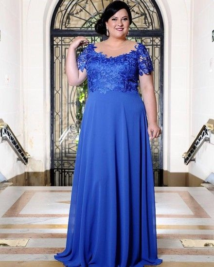 b4fededbb6 VESTIDO LONGO AZUL ROYAL DE FESTA – PLUS SIZE | Evening Gowns ...