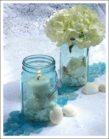 Blue mason jars can make beach wedding centerpieces something ...